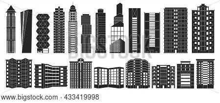 High Building Isolated Black Set Icon.vector Illustration Illustration Skyscraper On White Backgroun