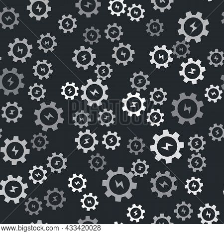 Grey Gear And Lightning Icon Isolated Seamless Pattern On Black Background. Electric Power. Lightnin