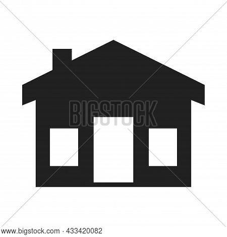 Solid Color House Icon With Windows And Door For Business Website, Flat Web House Icon For Apps And