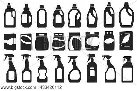 Detergent Vector Illustration On White Background. Isolated Black Set Icon Soap Powder. Vector Black