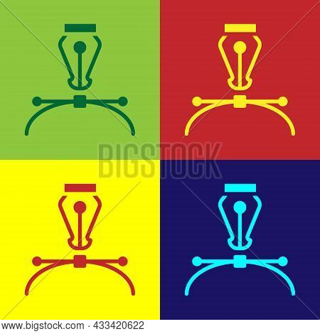 Pop Art Fountain Pen Nib Icon Isolated On Color Background. Pen Tool Sign. Vector
