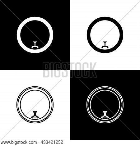 Set Bicycle Wheel Icon Isolated On Black And White Background. Bike Race. Wheel Tire Air. Sport Equi