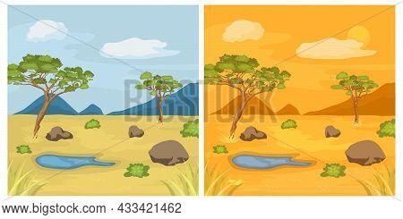 Natural Landscape Illustration. African Safari Flat Vector Banner Set. Savannah Concept. Tropical To