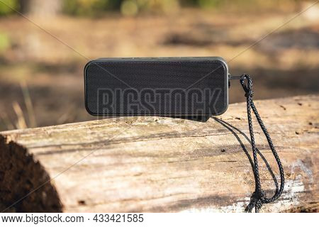 Portable Wireless Speaker For Listening To Music On A Log In The Forest.