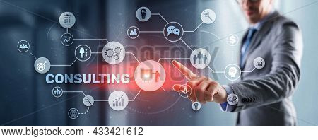 Consulting Concept. Man Pressing 3d Icon Consulting