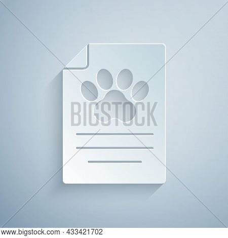 Paper Cut Clipboard With Medical Clinical Record Pet Icon Isolated On Grey Background. Health Insura