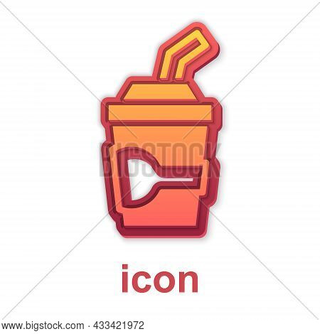 Gold Paper Glass With Drinking Straw And Water Icon Isolated On White Background. Soda Drink Glass.
