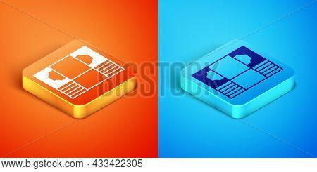 Isometric Stacks Paper Money Cash Icon Isolated On Orange And Blue Background. Money Banknotes Stack