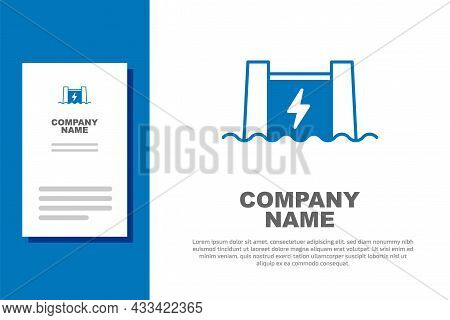 Blue Hydroelectric Dam Icon Isolated On White Background. Water Energy Plant. Hydropower. Hydroelect
