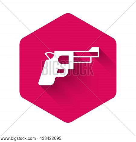 White Pistol Or Gun Icon Isolated With Long Shadow Background. Police Or Military Handgun. Small Fir