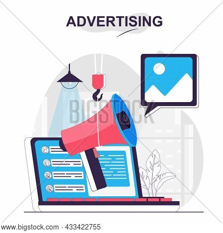 Advertising Isolated Cartoon Concept. Digital Marketing And Online Promotion Strategy, People Scene