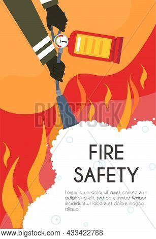 Fire Safety Concept. Firefighter With Fire Extinguisher In His Hands Fighting Flames. Safety Measure
