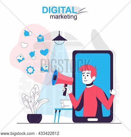 Digital Marketing Isolated Cartoon Concept. Online Advertising Campaign At Mobile App, People Scene