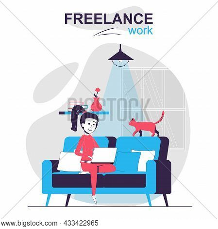 Freelance Work Isolated Cartoon Concept. Remote Worker Or Freelancer Works Online At Home, People Sc