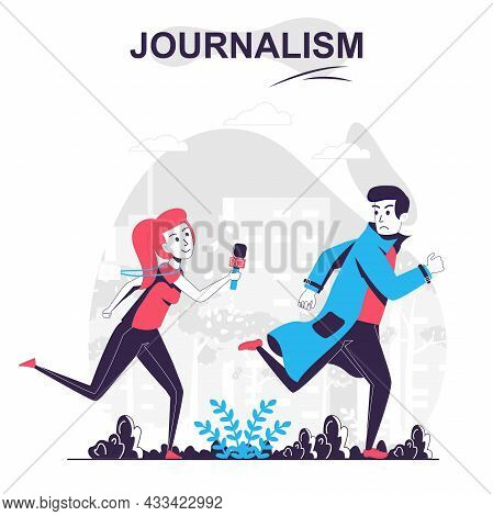Journalism Isolated Cartoon Concept. Journalist Or Paparazzi Runs After Man, Mass Media People Scene