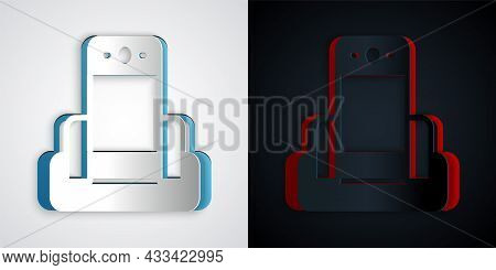 Paper Cut Metal Detector In Airport Icon Isolated On Grey And Black Background. Airport Security Gua