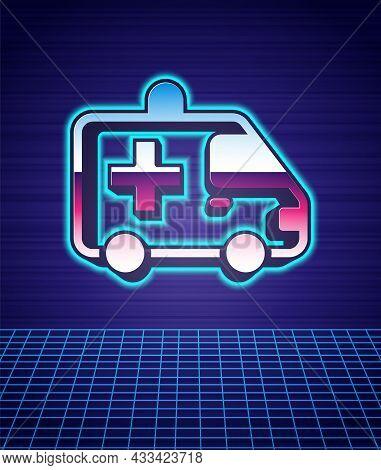 Retro Style Ambulance And Emergency Car Icon Isolated Futuristic Landscape Background. Ambulance Veh