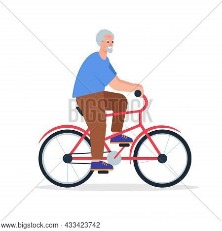 Elderly Man On Bycicle. Smiling Happy Retired Male Character Ride Bike. Senior People Active Lifesty