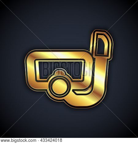 Gold Diving Mask With Snorkel Icon Isolated On Black Background. Extreme Sport. Diving Underwater Eq