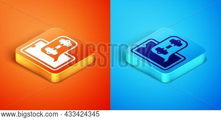 Isometric Fitness App For Sports Icon Isolated On Orange And Blue Background. Healthcare Mobile App