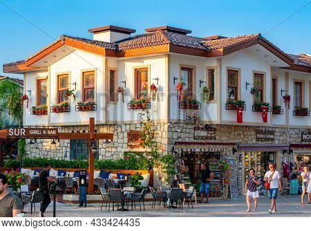 Side, Turkey - September 2021: Architecture Of Side On Sea Promenade At Sunset