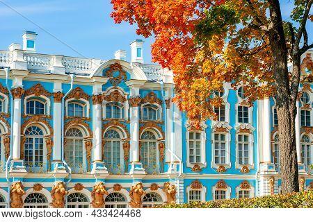 Catherine Palace In Autumn, Tsarskoe Selo (pushkin), St. Petersburg, Russia