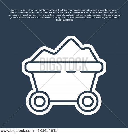 Blue Line Coal Mine Trolley Icon Isolated On Blue Background. Factory Coal Mine Trolley. Vector Illu