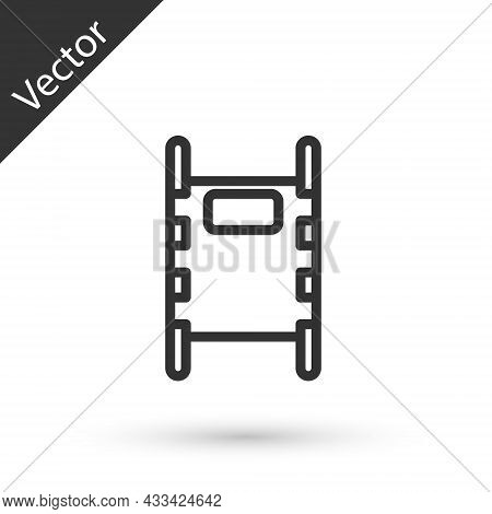 Grey Line Stretcher Icon Isolated On White Background. Patient Hospital Medical Stretcher. Vector Il