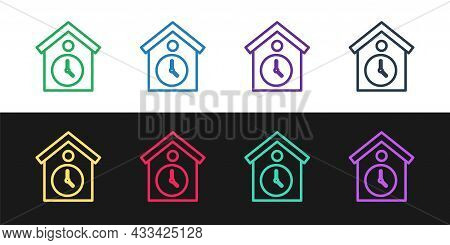 Set Line Retro Wall Watch Icon Isolated On Black And White Background. Cuckoo Clock Sign. Antique Pe