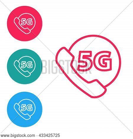 Red Line Phone With 5g New Wireless Internet Wifi Icon Isolated On White Background. Global Network