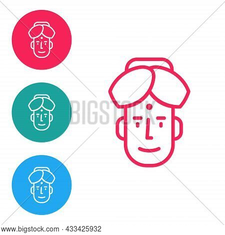 Red Line Portrait Of Indian Man Icon Isolated On White Background. Hindu Men. Set Icons In Circle Bu