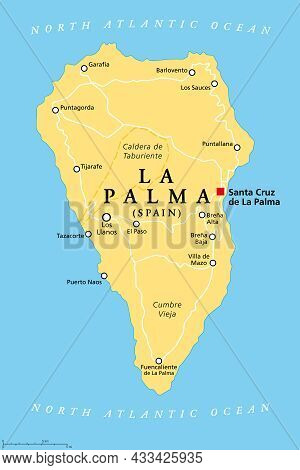 La Palma Island, Political Map, With Capital Santa Cruz. San Miguel De La Palma, North-western Islan