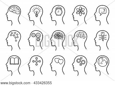 Human Head Icons Set With Thinking Symbols. Collection Of Head Profile With Brain Sign, Symbol Of In