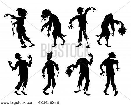 Zombie. Set Of Silhouettes. The Walking Dead, Scary People Raised From The Dead. Full Length Zombies