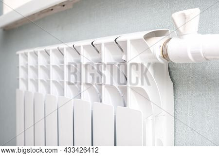 Heating White Radiator Radiator In Living Room, Central Heating For Comfort And Warmth At Home