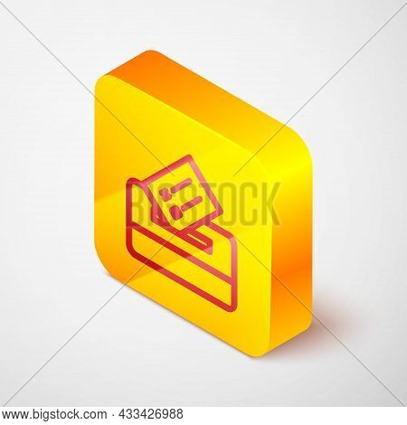 Isometric Line Vote Box Or Ballot Box With Envelope Icon Isolated On Grey Background. Yellow Square