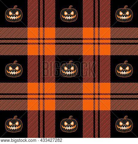 Halloween Tartan Plaid. Scottish Cage And Pumpkins