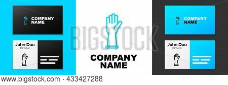 Blue Line Rubber Gloves Icon Isolated On White Background. Latex Hand Protection Sign. Housework Cle