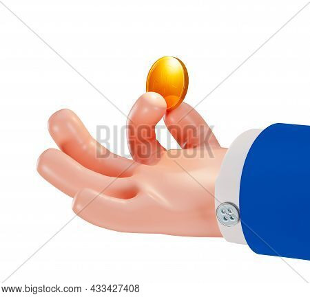 Hand In A Business Suit Holds A Coin, 3d. Cartoon Businessman's Hand Holds A Dollar Coin. Businessma