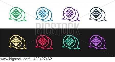 Set Line Target Financial Goal Concept Icon Isolated On Black And White Background. Symbolic Goals A