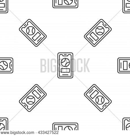 Grey Line Smartphone With Baseball Ball On The Screen Icon Isolated Seamless Pattern On White Backgr
