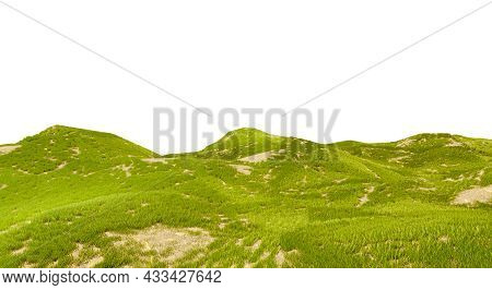 Beautiful Valley With Hills, 3d Rendering. Green Grass Field Isolated On A White Background. Landsca