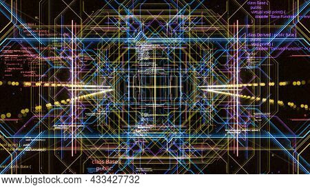 3d Networks Moving In Computer Space. Motion. Hypnotic Pattern With Moving Colored Lines Of Computer