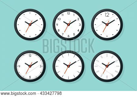 Flat Vector Wall Office Clock Icon Set Isolated. White Dial. Design Template Of Wall Clock. Time Con