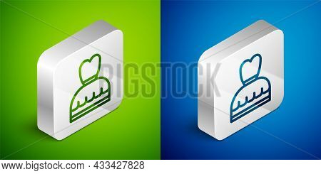 Isometric Line Woman Dress Icon Isolated On Green And Blue Background. Clothes Sign. Silver Square B