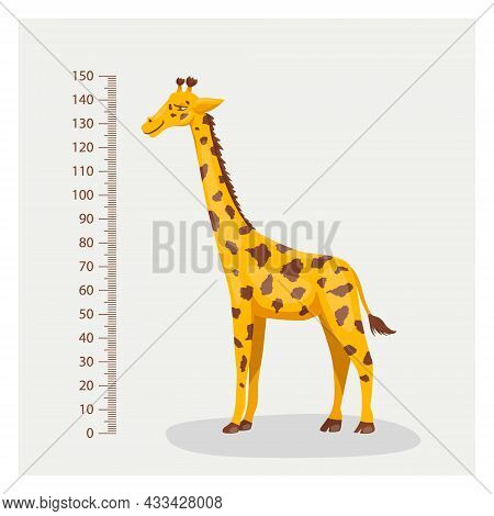 Vector Cartoon Cute Giraffe With Ruler, Growth Meter. Full Length Giraffe, Design Template. Child, K