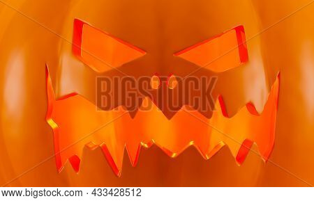 Scary Jack O Lantern Halloween Pumpkin, Close-up. Background For A Halloween Banner, 3d Rendering. C