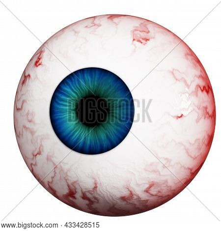 Human Eye Isolated On A White Background. Realistic Eyeball With A Blue Retina, Close-up. 3d Render.