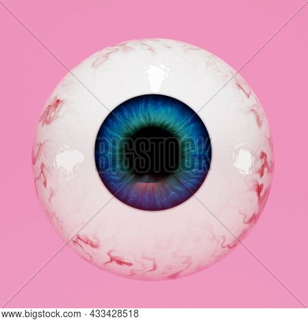 Eyeball On A Pink Background, 3d. Realistic Human Eye, 3d Render.