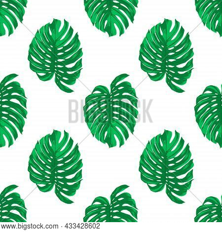 Seamless Pattern With Tropical Leaves On White. Repeated Tropical Background. Flat Vector Illustrati